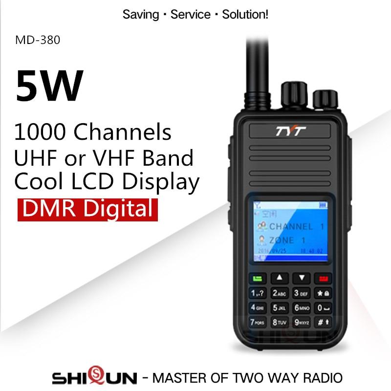 US $88 0 |MD 380 DMR Radio Compatible with Motorola Tier1/2 Dual Band UHF  VHF 5W TYT DMR Digital Walkie Talkie md380 Baofeng DMR DM 8HX-in Walkie