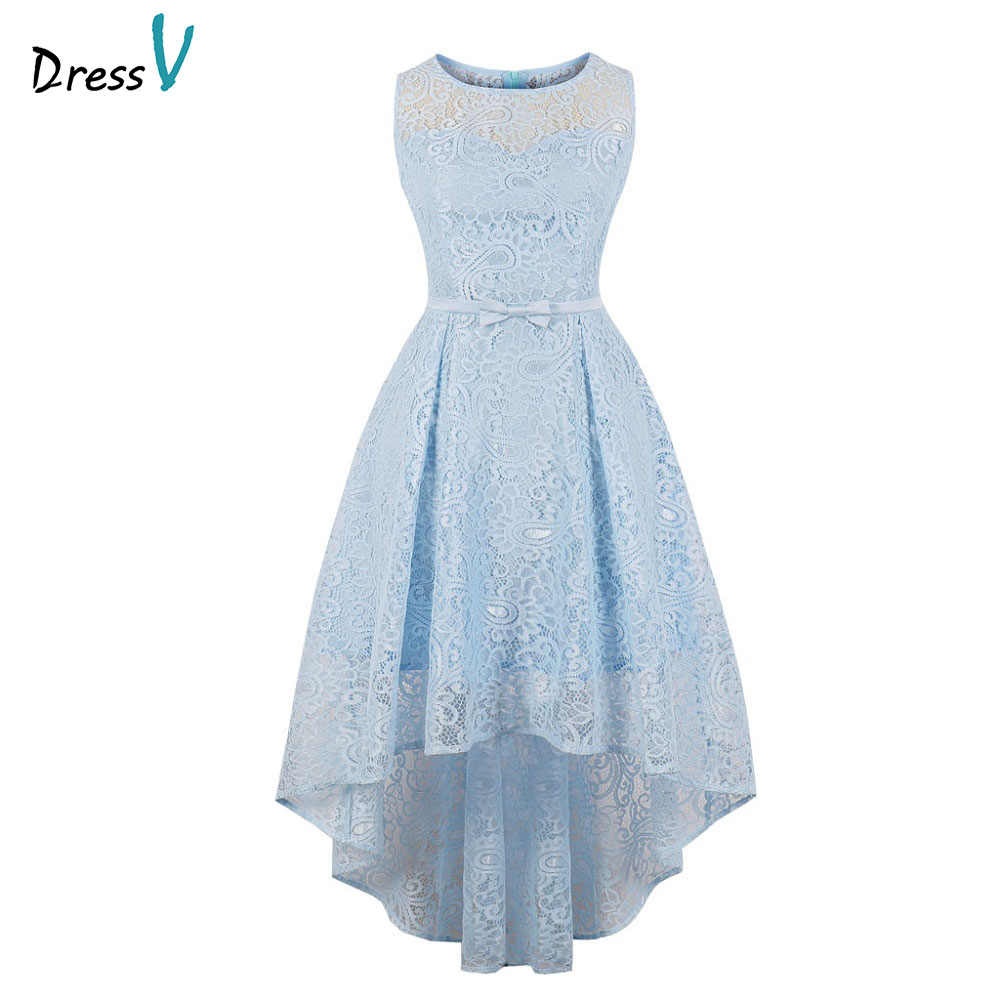 d8bb94090 Dressv blue evening dress cheap scoop neck lace a line sleeveless tea  length wedding party formal