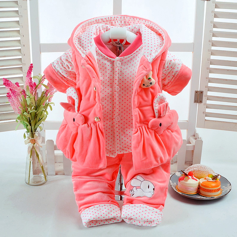 New Autumn & Winter Baby Girl Clothes Set Rabbit Style Add Cotton-Padded Warm 0-2T Newborn Infant Baby 3Pcs/Set Walking Dress