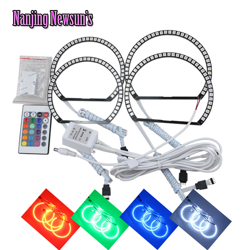 2*145mm+2*131mm Led RGB Angel Eyes Halo Ring Kits For Bmw E46 A+B Non Projector IR RGBW Remote Control Color Changing DRL Rings задние ремни безопасности ваз 21124 где магнитогорск