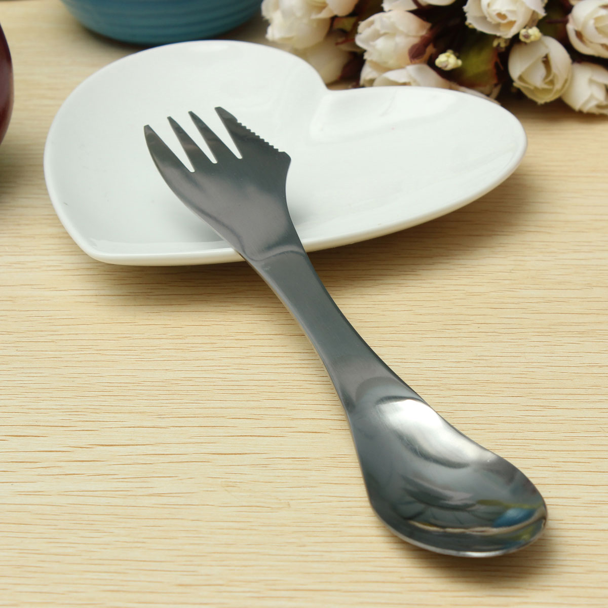 Portable 3in1 Stainless Steel Spork Spoon Knife Fork Cutlery Utensil ...