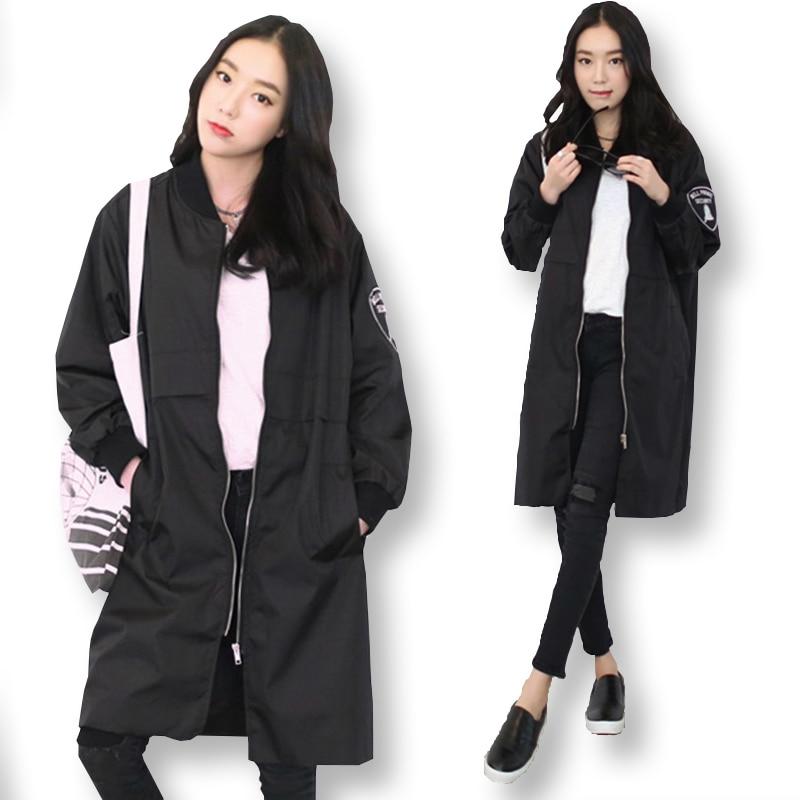 LYFZOUS New Fashion Army Green Long Bomber   Jacket   Women Stand Collar   Basic     Jacket   Zipper Outwear Female Coats Casaco