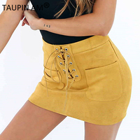 Sexy Lace Up Leather Suede Pencil Skirts Womens Autumn 2017 Cross High Waist Skirt Zipper Bodycon