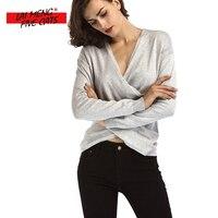 LMFC Solid color t shirt Womens Spring 2018 Trend Cross V-neck Sexy Tops Women Slim T-shirt Black White Long Sleeve Tee shirt