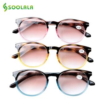 SOOLALA okulary do czytania okulary mężczyźni kobiety zawias sprężynowy okulary przeciwsłoneczne okulary do czytania z dioptriami okulary do czytania Lees Zonnebril tanie i dobre opinie WOMEN Unisex Jasne Gradient 81-675 Z tworzywa sztucznego Sunglasses Reading Glasses men reading glasses sunglasses sunglasses with diopters