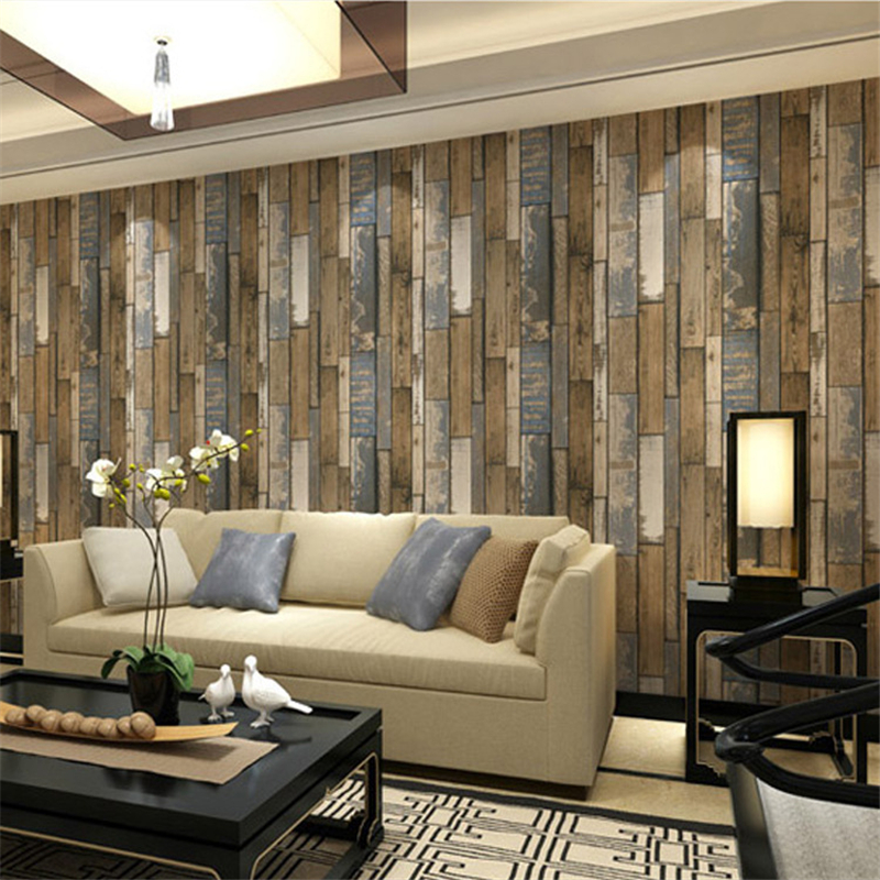 Beibehang 3d Chinese vintage wood grain wallpaper cafe bar clothing shop living room bedroom background walls 3d wallpaper rolls beibehang 3d stereo simulation wood grain pvc thick wallpaper hotel cafe bark trunk round wood background wallpaper