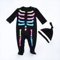 YK i Kochać Fluorescencji Szkielet Halloween Dla Dzieci Dziewczyny & Chłopiec Body Ciepła Jesień/Jesień Noworodka Ubrania Karnawałowe New Arrival