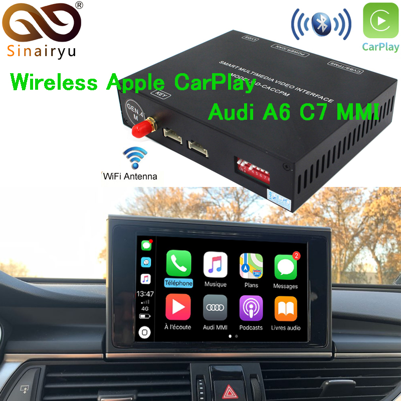 Aftermarket Adattatore Multimediale A6 C7 MMI Piccolo Schermo OEM Senza Fili di Apple CarPlay Soluzione Retrofit con la Macchina Fotografica D'inversione per Audi