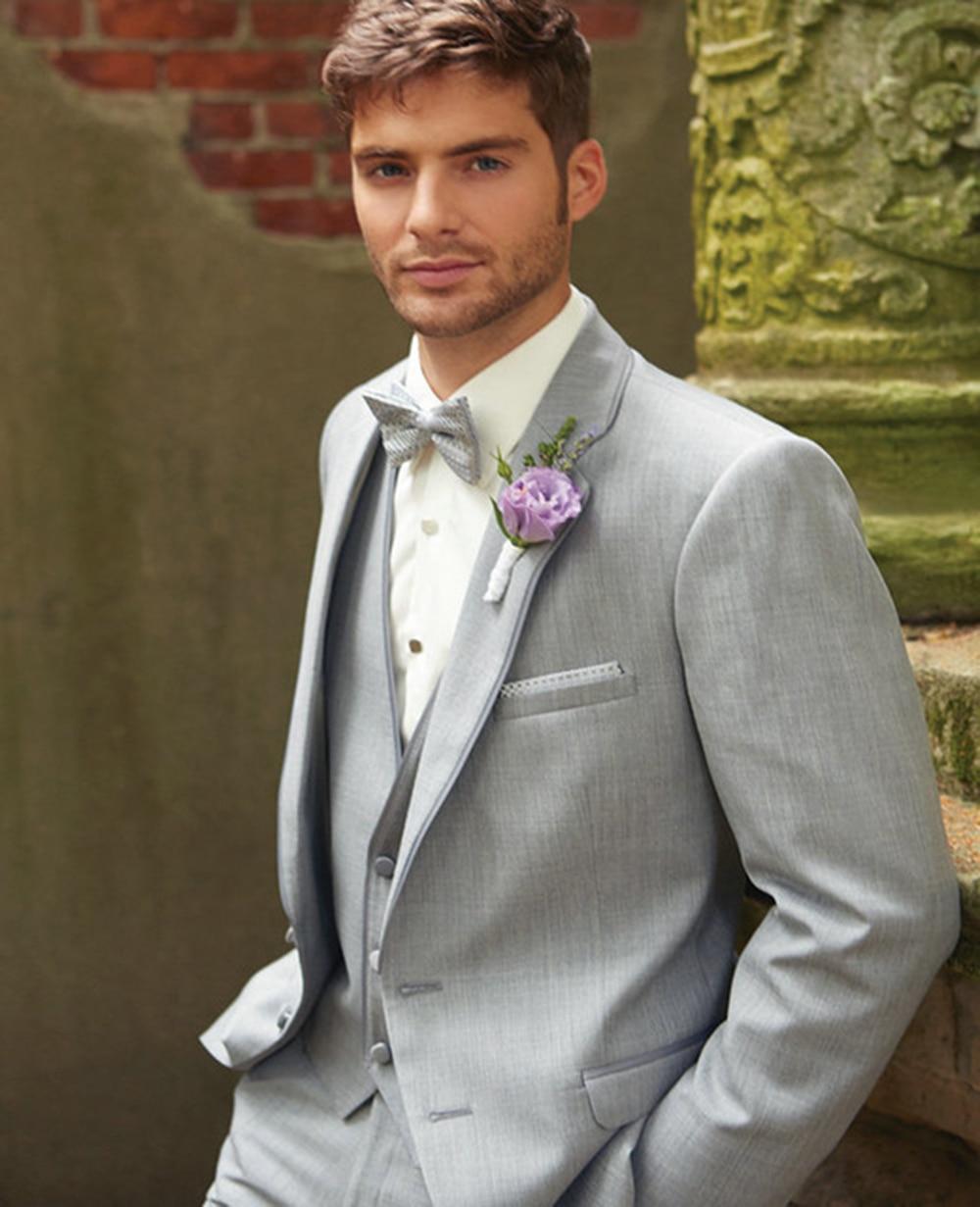 Homme costumes gris trois pièces coton marié costume sur mesure Tuxedos pour hommes Groomsman marié mariage (veste + pantalon + gilet + cravate) - 2