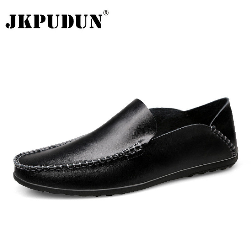 JKPUDUN Italian Men Casual Shoes Black Genuine Leather Men Loafers Moccasins Slip On Men's Flats Breathable Male Driving Shoes