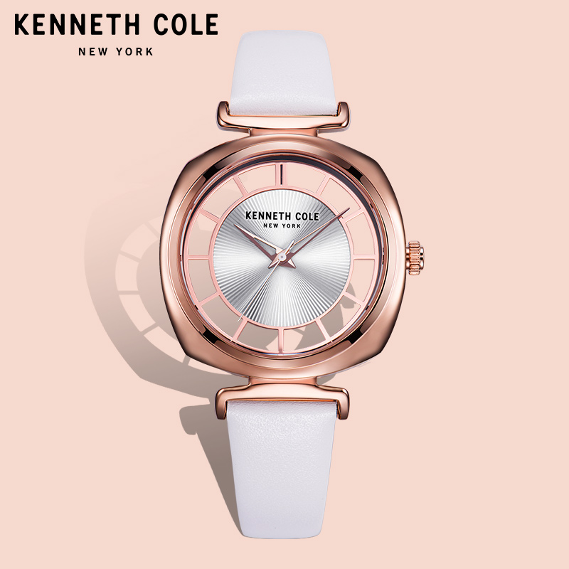 Kenneth Cole Womens Watches Gold Blck Leather Buckle Quartz See-through Simple Big Dial KC1510800 Waterproof Luxury Brand Watch цена и фото