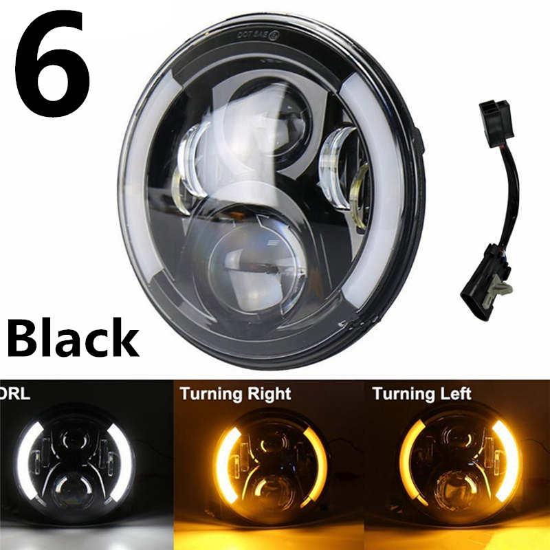 Halo de phare LED rond de 7 pouces pour Harley Davidson Moto phare LED avec des yeux d'angle pour Harley