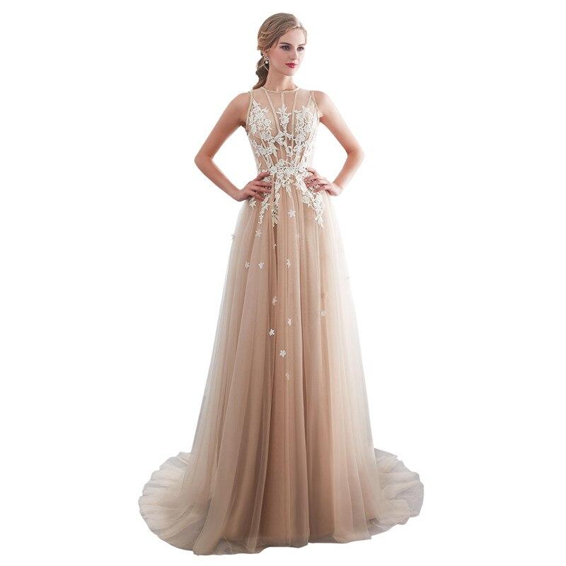In Stock Champagne Tulle O-Neck Appliques Prom Gown Long Evening Dresses Court Train Tank Vestido De Noche Robe De Soiree 26661