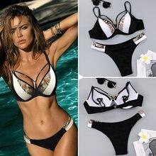 Zrtak Sexy Bikini Push Up Hollow Out Swimsuit Female 2019 String Swimwear V-Neck Bathing Suit Women Solid Biquini Thong Bikinis