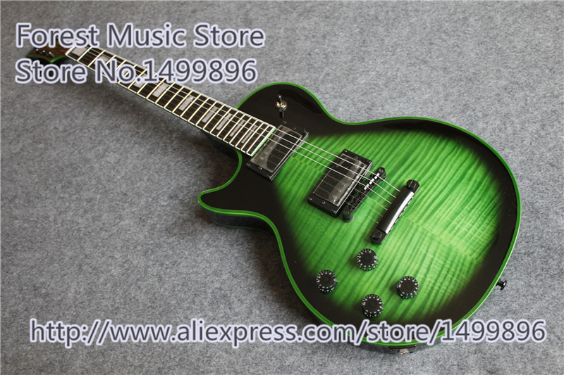 Vintage Green Tiger Flame Finish Lefty LP Custom Electric Guitar China Black Hardware Guitars For Sale custom shop reddish brown matte satin finish 22 frets lp custom electric guitar 2014 new model china oem guitar lefty available