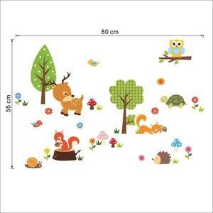 Image 4 - Adesivi murali FAI DA TE Per Bambini Animali della Foresta Del Gufo Dei Bambini Camera Da Letto Sfondo Muurstickers Voor Kinderkamers Duvar Sticker Camera