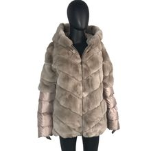 CNEGOVIK Short real Rex rabbit fur jacket with hood