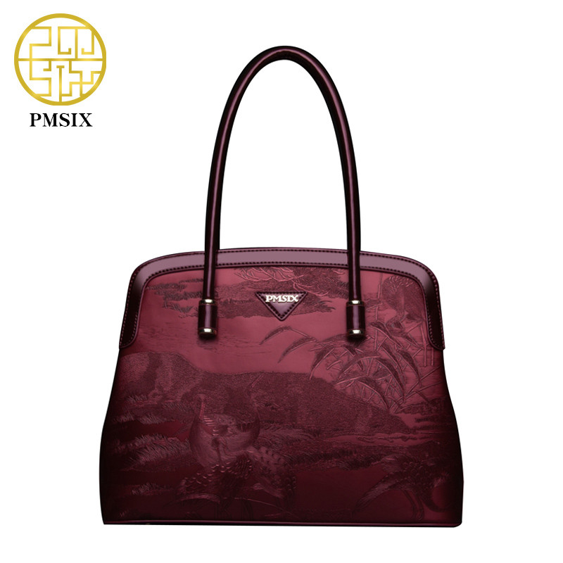 PMSIX  NEW Autumn and Winter Handbag classic bags  Large capacity Women bags casual zipper convenient Hard PU black red bags pmsix 2018 new autumn