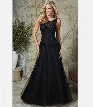 Schwarz 2016 Mutter der Braut Kleider Für Hochzeit Abendgesellschaft Kleider Frauen Formales Kleid Appliques Plus Größe Bodenlangen