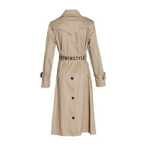 Image 4 - Chiceverの秋のコートルースウインドブレーカー女性特大長袖ハイウエストサッシコートと女性の衣類のファッション