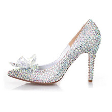 High Heeled Women Stunning Glasses Slipper Silver Rhinestone Luxury Formal Dress Shoes 2016 Cinderella Crystal Shoes