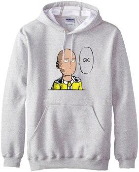 new arrival Anime One Punch Man Hoodies OK Printed Men Sweatshirts 2017 spring winter warm fleece loose fit men's sportswear