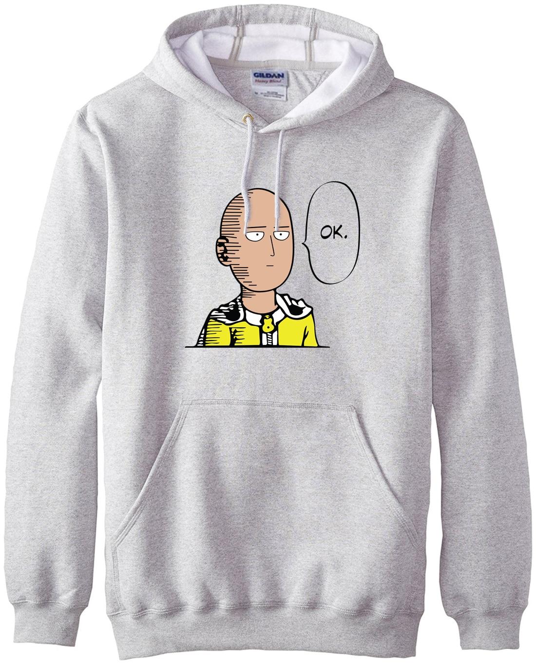 New Arrival Anime One Punch Man Hoodies OK Printed Men Sweatshirts 2019 Spring Winter Warm Fleece Loose Fit Men's Sportswear