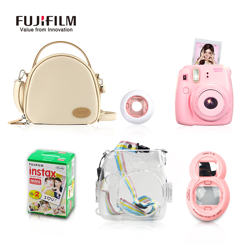 Fujifilm Instax Mini 8 Camera +20 Sheets Films + Camera Storage Bag + Transparent Plastic Shell + Close Up Lens with Free Gifts fujifilm instax mini 8 black