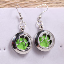 1 pair/lot Silver Dog Paw Print Perfume 20MM Aromatherapy Locket Earrings Pendant Essential Oil Diffuser Locket Drop Earring(China)