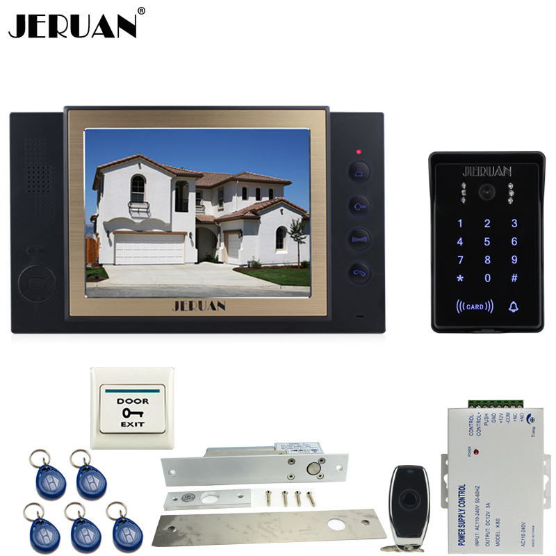 JERUAN 8 inch TFT video doorphone Recording intercom system kit New RFID waterproof Touch Key password keypad Camera 8G SD Card