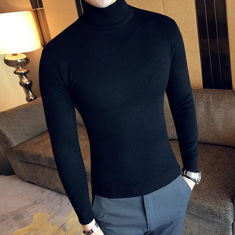 Image 4 - New 2018 Sweater Men Clothing Men's Sweaters Black Red Casual Autumn Wool Pullover Men Turtleneck Homme Top-in Pullovers from Men's Clothing