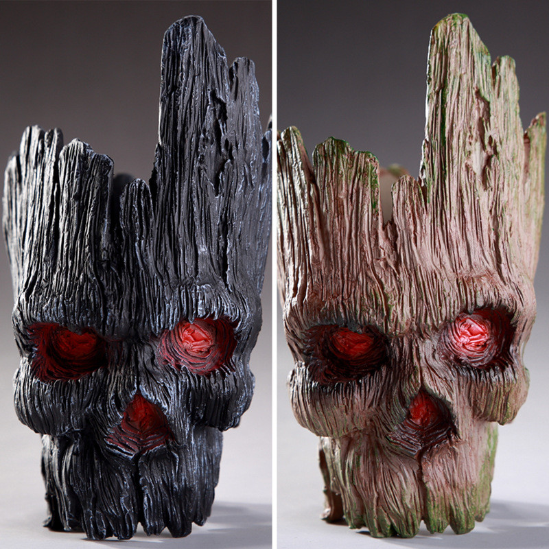 Home Decoration Accessories Modern PVC Skull Flower Pot Tree man Hallowen Decoration Skull Sculpture  Figurines Head CraftsHome Decoration Accessories Modern PVC Skull Flower Pot Tree man Hallowen Decoration Skull Sculpture  Figurines Head Crafts