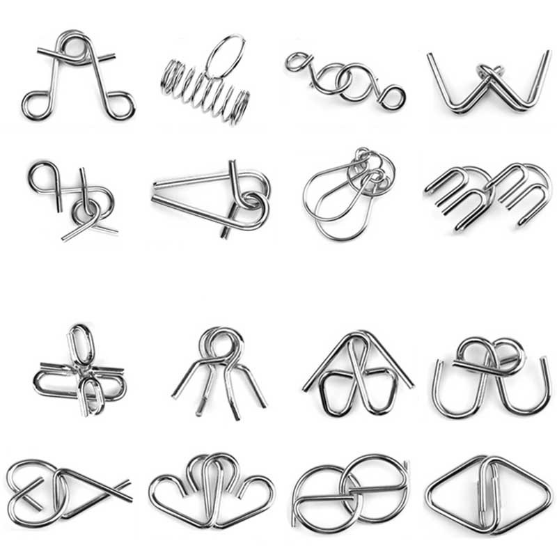 Hot Sell 8 pcs/set Classical Metal Ring Puzzles IQ Brain Teaser Test Toys Locks Educational Learning Gifts for Kids Adults FL
