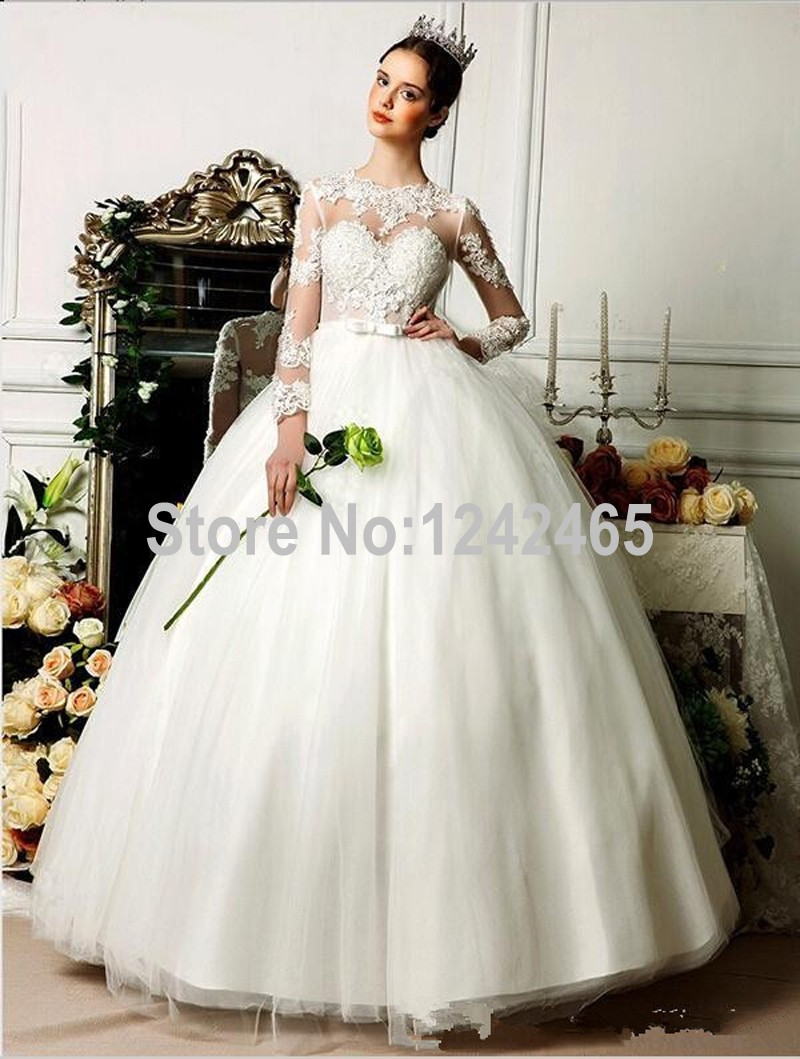 Ball Gown High Neck Victorian Gothic Wedding Dress Sweep Train ...