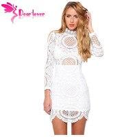 Dearlover Autumn Winter White Long Sleeve Crochet Lace High Neck Mini Dress LC22179 Vestidos De Femininos