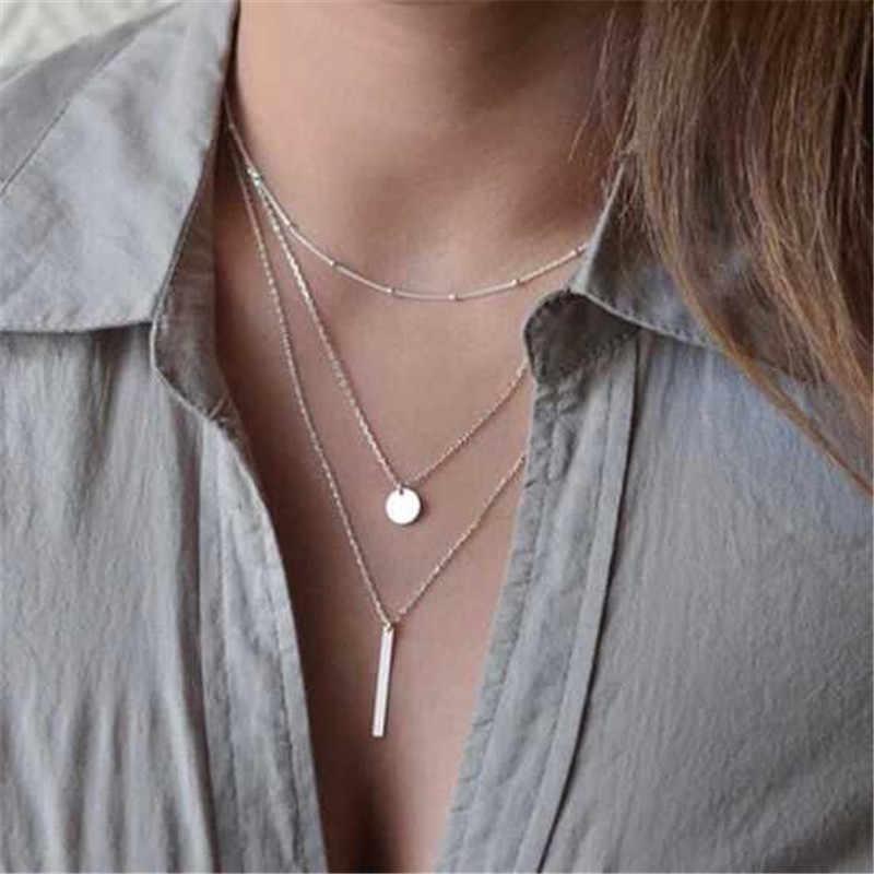 Złoto srebro gwiazda serce naszyjnik księżyc monety frędzle Bar naszyjniki sztuczna Pearl Choker wisiorki dla kobiet biżuteria Choker