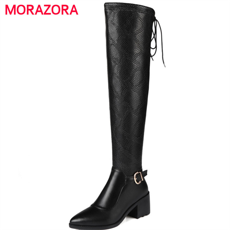 MORAZORA Plus size 34-45 over the knee boots genuine leather + PU serpentine high heels shoes boots female zipper black new 2016 over the knee high boots women motorcycle boots side zipper knight boots low heels pu leather shoes big plus size 34 43