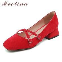 Купить с кэшбэком Meotina High Heels Shoes Women Buckle Chunky Heels Many Janes Shoes Cross Tied Square Toe Pumps Lady Spring Red Big Size 33-43