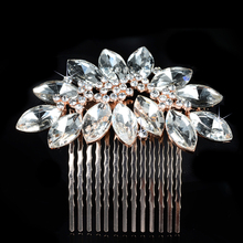 2017 New Arrival Hot Selling Rose Gold Rhinestones Crystals Flower Leaf Wedding Hair Comb Bridal Hair Accessories Bridesmaids