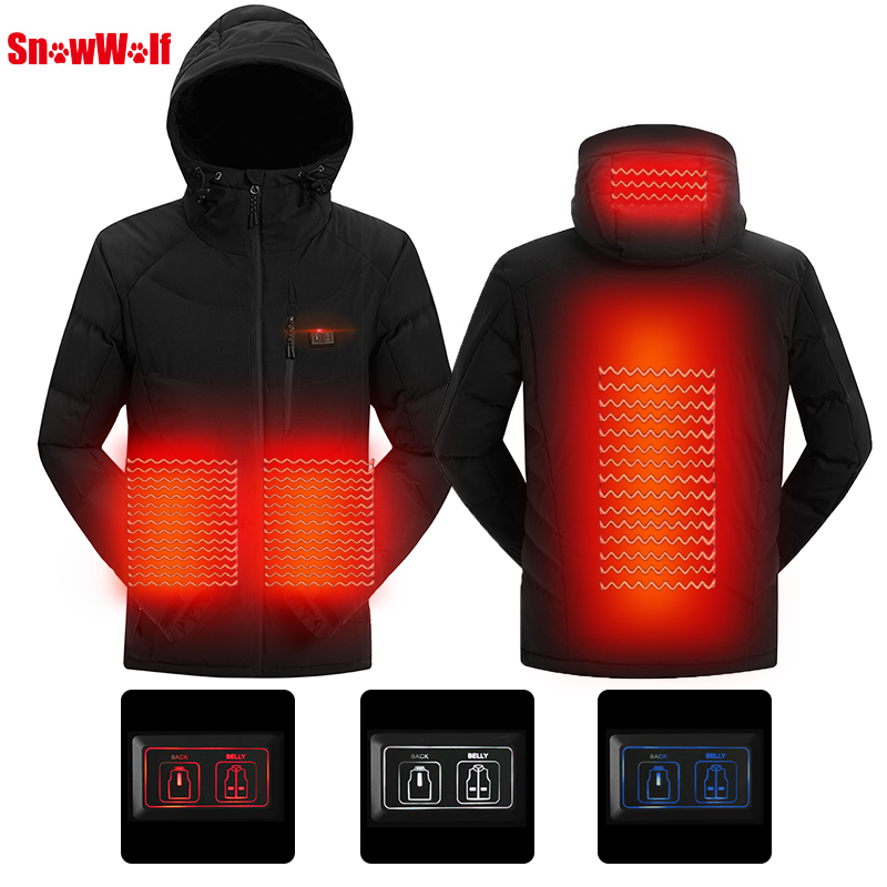 SNOWWOLF 2019 Men Winter Outdoor USB Infrared Heating Hooded Jacket Electric Thermal Clothing Coat For Hiking Heated Jacket gown