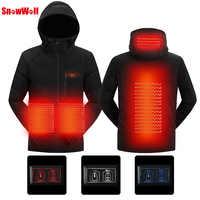 SNOWWOLF 2019 hombres invierno al aire libre USB calefacción infrarroja chaqueta con capucha ropa térmica eléctrica abrigo para senderismo chaqueta calentada