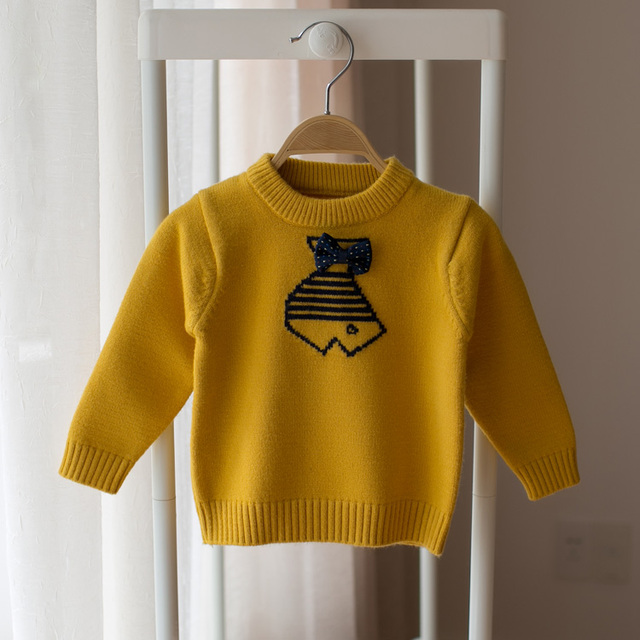2017 spring and autumn children's cartoon fish sweater boys and girls knit sweater baby round neck bottoming sweater