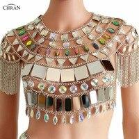 Chran Irridescent Mirror Tank Top EDM Party Fringe Chain Shoulder Necklace  Rave Bra Bralete Festival Costume 06fb9194c085