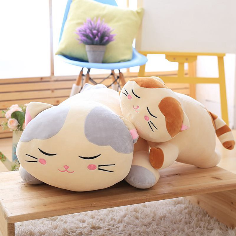 Candice guo plush toy stuffed doll cartoon animal lying down sleeping cat kitten rest pillow cushion birthday gift christmas 1pc candice guo plush toy stuffed doll cartoon pretty cheese cat satchel backpack travel bag funny schoolbag package birthday gift