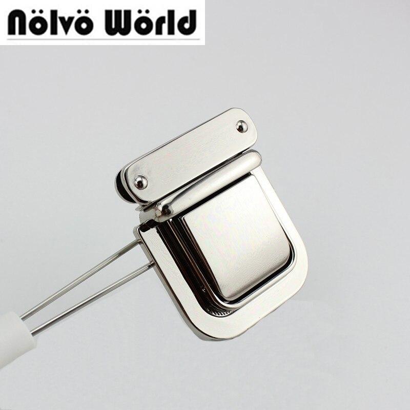10 комплектов 54*43 мм высокое качество замок ручной работы женские Пакетоделательная Gunmetal нажатии замок портфель замок для натуральная кожа ...