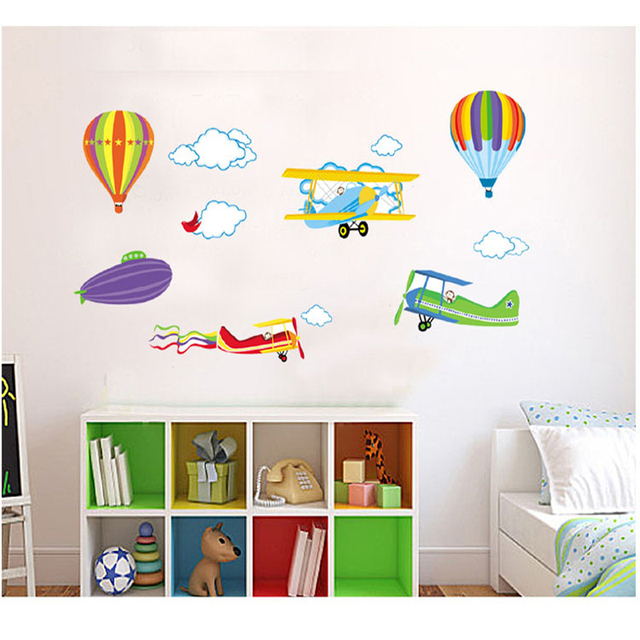 Cartoon Airplane Hot Air Balloons Wall Stickers For Baby Kids Rooms  Decorative Cartoon Wall Decal Decoration