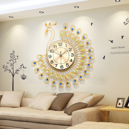 Large Designer Wall Clocks India Diamond Peacock Living Room Creative Clock  Fashion Silent Watch Unique Gift