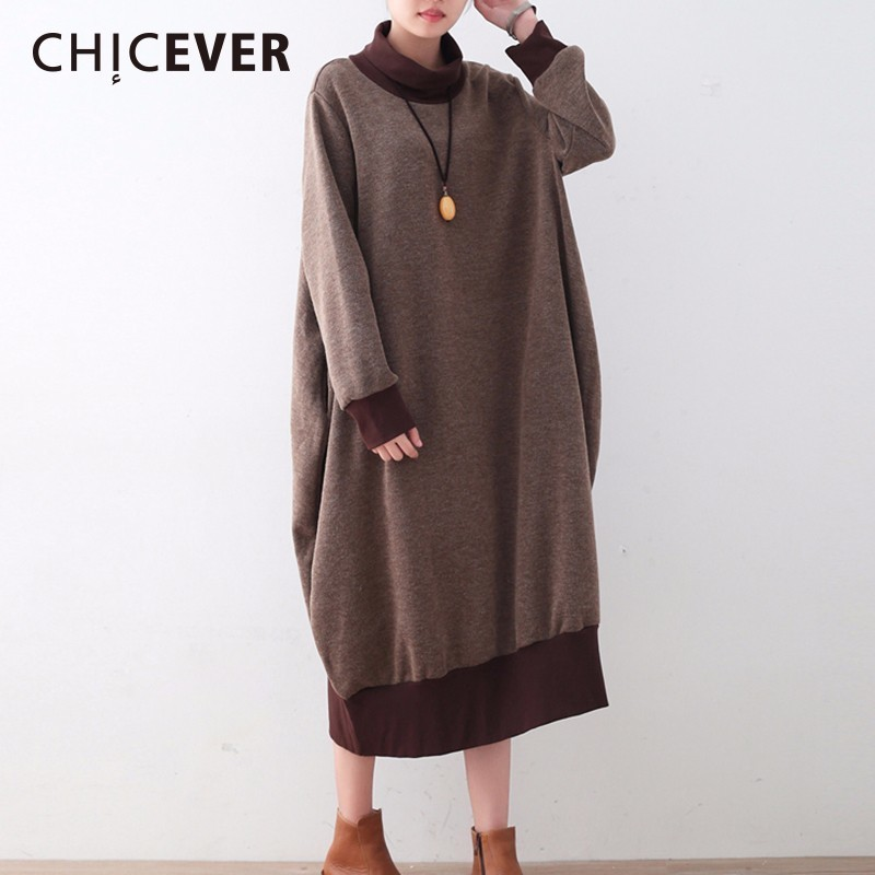 CHICEVER Winter Thick Knitted Women Dress Batwing Sleeve Loose Big Size Turtleneck Warm Pullovers Dresses Female Clothes New hot sale feather pendant big butterfly print batwing loose coat poncho cape for women