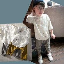 Autumn  Winter kids Boys Linen Vintage Suits Brand Summer Style Children Retro Linen Casual Clothing Set Kids Suit