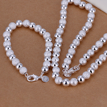 925 sterling silver jewelry silver sets wedding jewelry sets fancy shine frosted beads chain bracelet&neckalce silver sets CS056